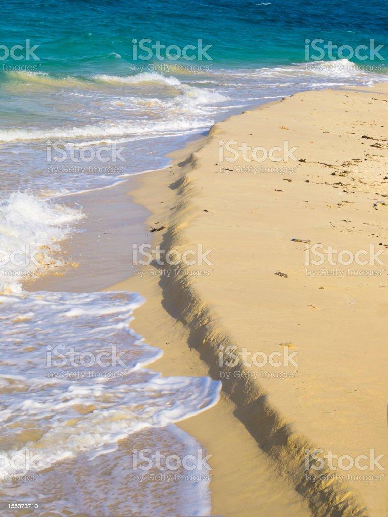 Ariel view of beach on Prison Island near Zanzibar, Tanzania royalty-free stock photo