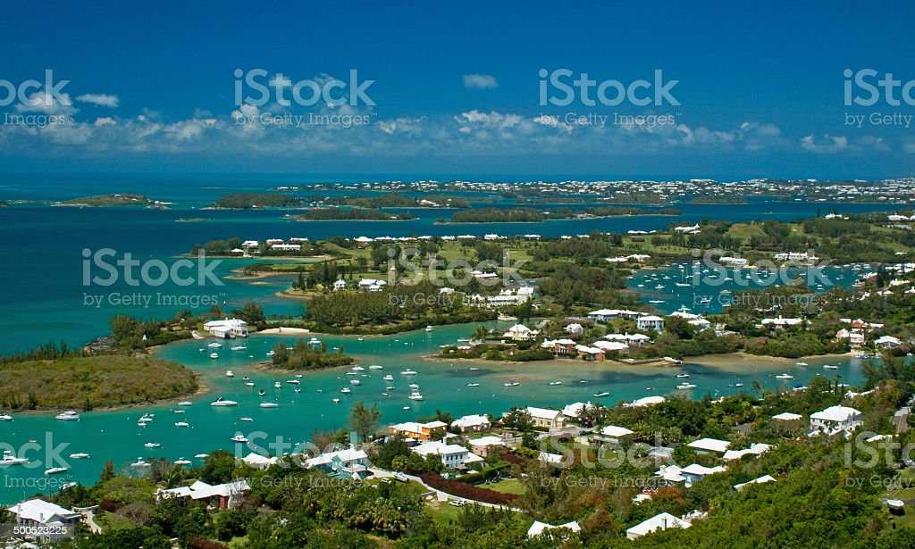 Ariel view of Bermuda's Great Sound stock photo