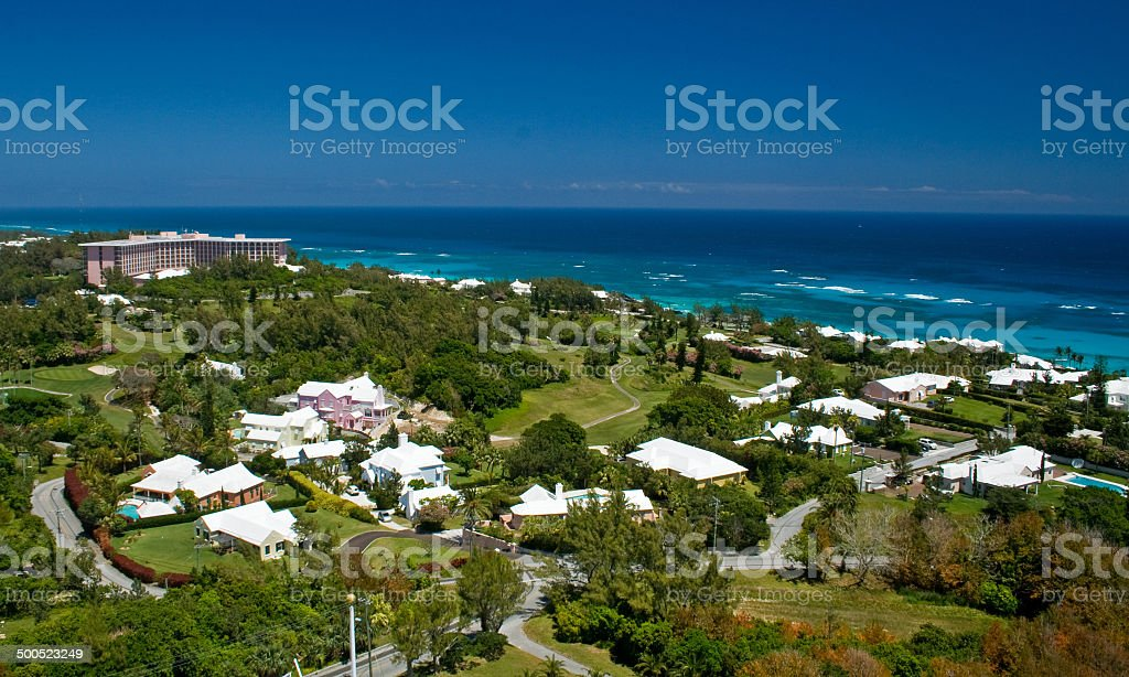 Ariel view of Bermuda's South Shore stock photo