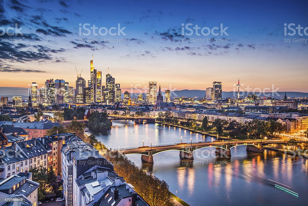 Ariel view of Frankfurt, Germany during twilight stock photo