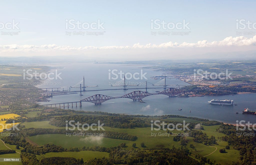 Ariel View of Queensferry Crossing stock photo