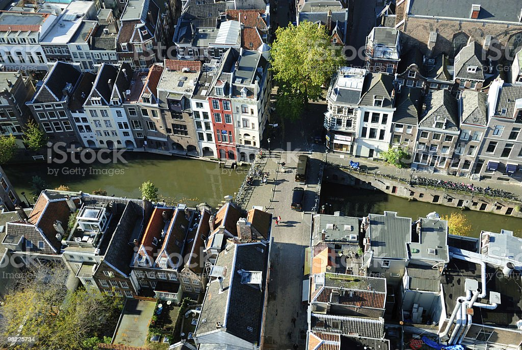 Ariel view of the city of Utrecht stock photo