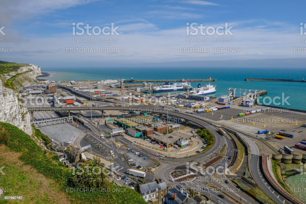 Ariel view of the Dover Ferry Port and harbour stock photo
