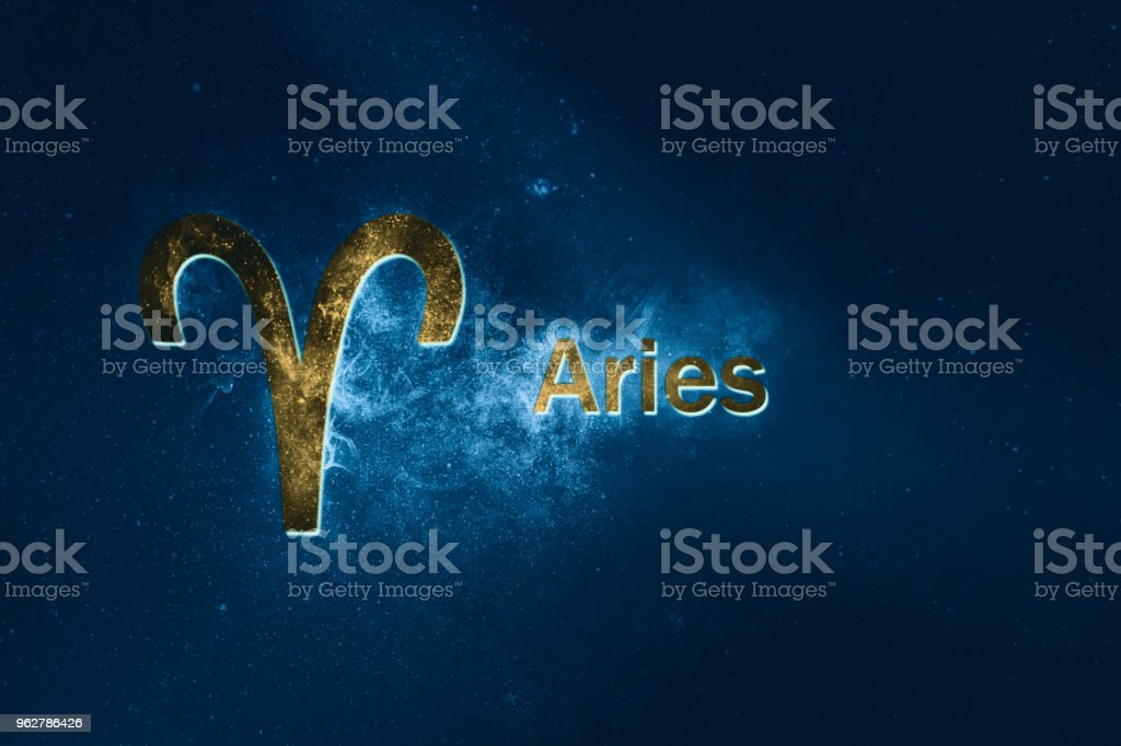 Aries Horoscope Sign. Abstract night sky background - Foto stock royalty-free di Ariete - Segno zodiacale (fuoco)