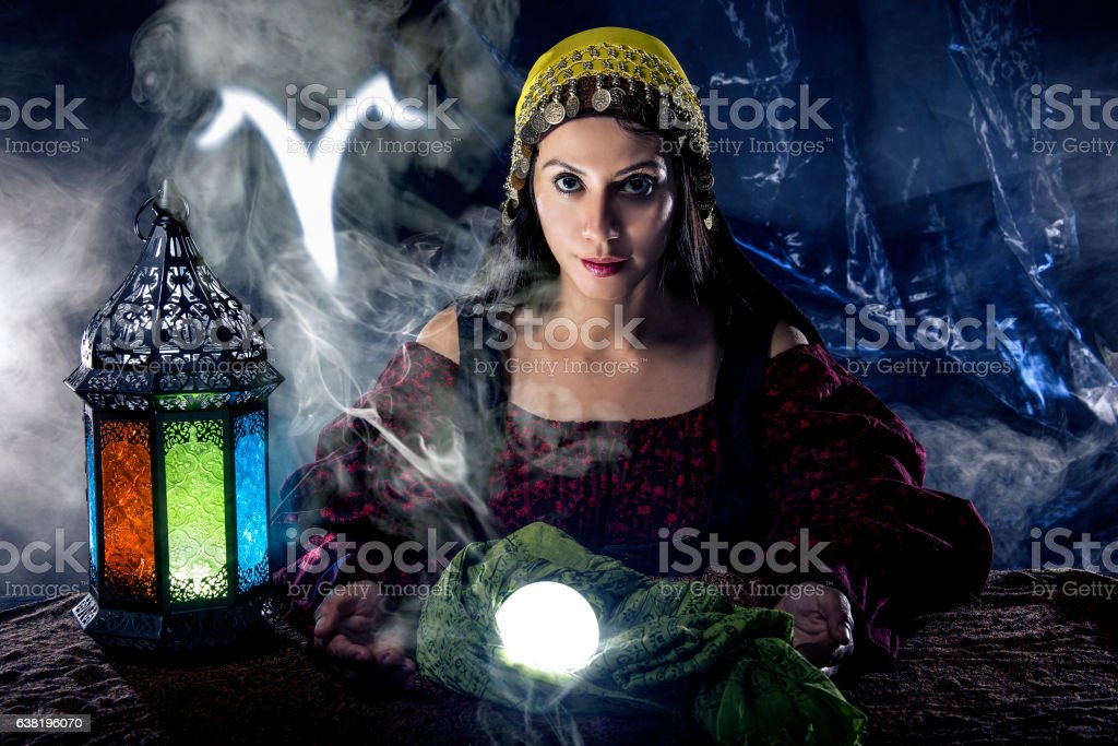 Aries Horoscope Zodiac Sign with Psychic or Fortune Teller stock photo