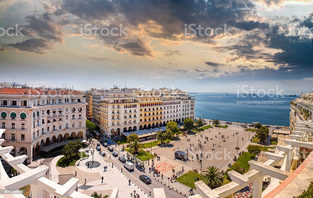Aristotelous Square at Afternoon, Thessaloniki, Greece stock photo