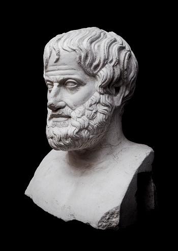 Philosopher Aristotle Sculpture Isolated on Black Background