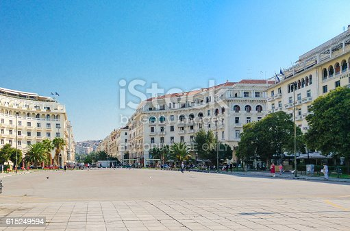 Thessaloniki, Greece - August 31, 2016: Aristotle Square photo taken at early morning, some people walking around, Thessaloniki, Greece