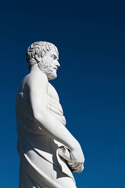 Aristotle statue located at Stageira of Greece stock photo