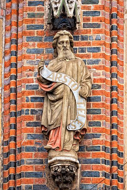 aristotle statue on bremen city hall stock photo