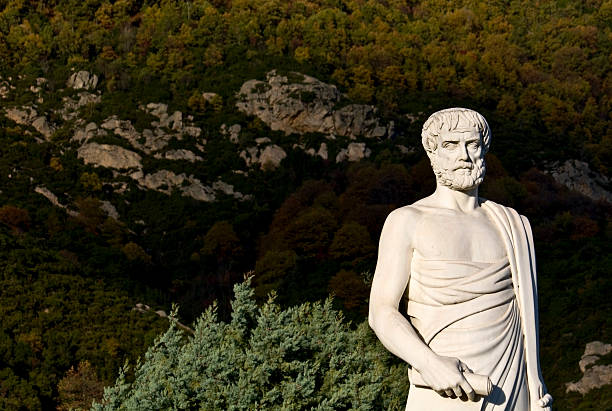 Aristotle statue with foliage located in Stageira, Greece stock photo