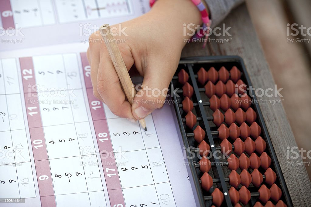 Arithmetic with abacus royalty-free stock photo