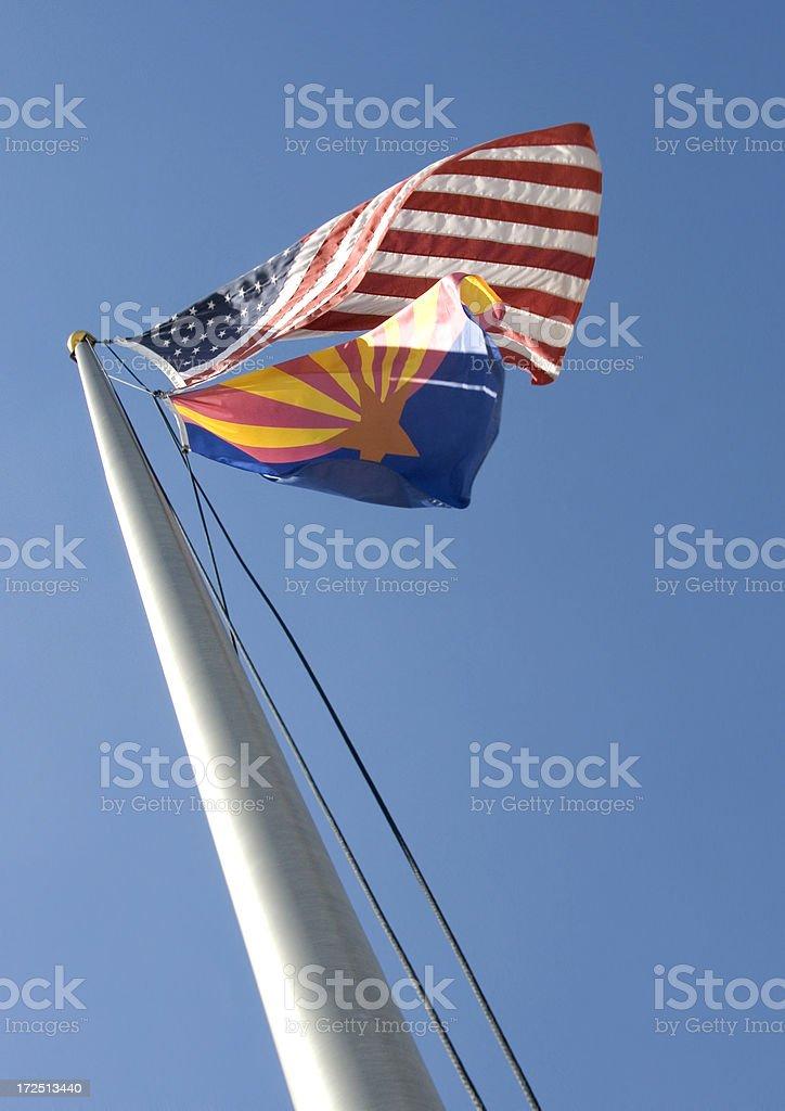 Arizona and American Flags royalty-free stock photo