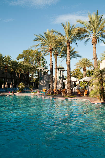 Arizona Biltmore Hotel swimming pool at noon with palm trees stock photo
