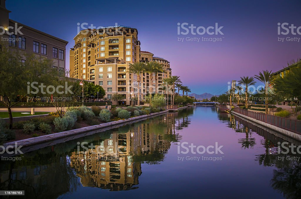 Arizona Canal running throgh Scottsdale,Az,USA stock photo