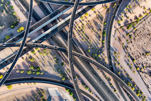 The intersecting connectors of two Arizona highways located just outside Phoenix.