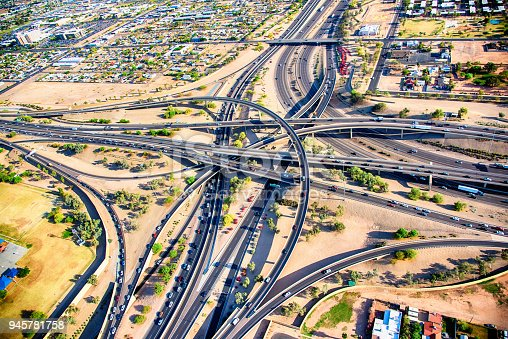 Two freeways intersecting just outside of Phoenix, Arizona, shot from an altitude of about 1500 feet.