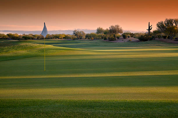 Arizona Golf Course at Sunrise stock photo