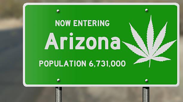arizona highway sign with marijuana leaf - arizona highway signs stockfoto's en -beelden