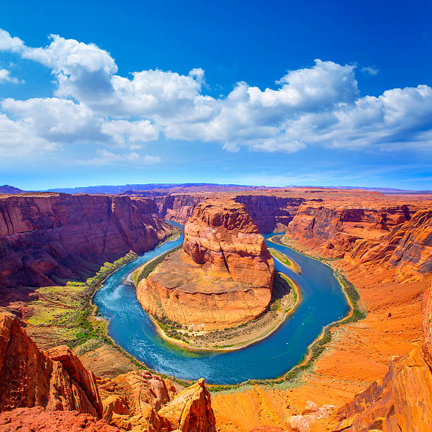 Arizona Horseshoe Bend meander of Colorado River Arizona Horseshoe Bend meander of Colorado River in Glen Canyon horseshoe bend colorado river stock pictures, royalty-free photos & images