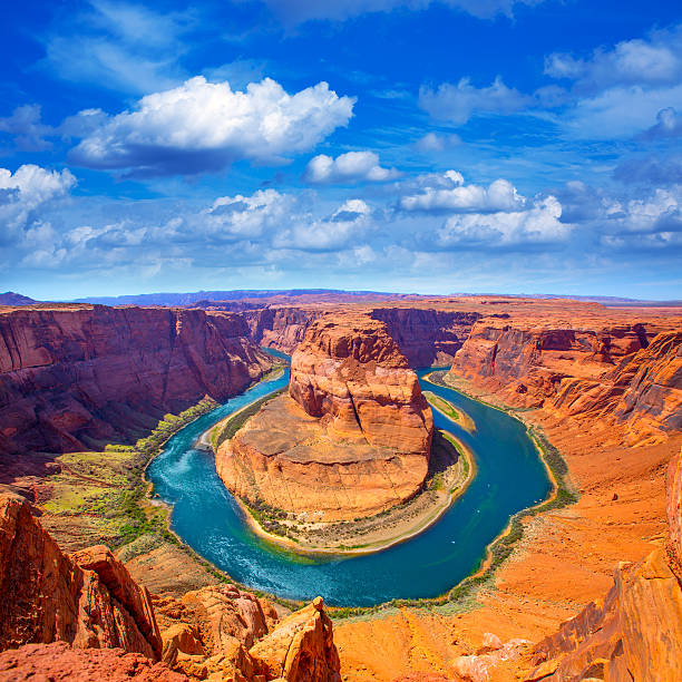 Arizona Horseshoe Bend meander of Colorado River Arizona Horseshoe Bend meander of Colorado River in Glen Canyon colorado river stock pictures, royalty-free photos & images