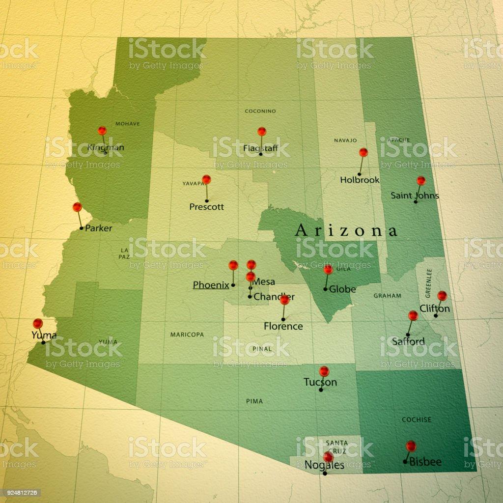 Arizona Map Square Cities Straight Pin Vintage stock photo
