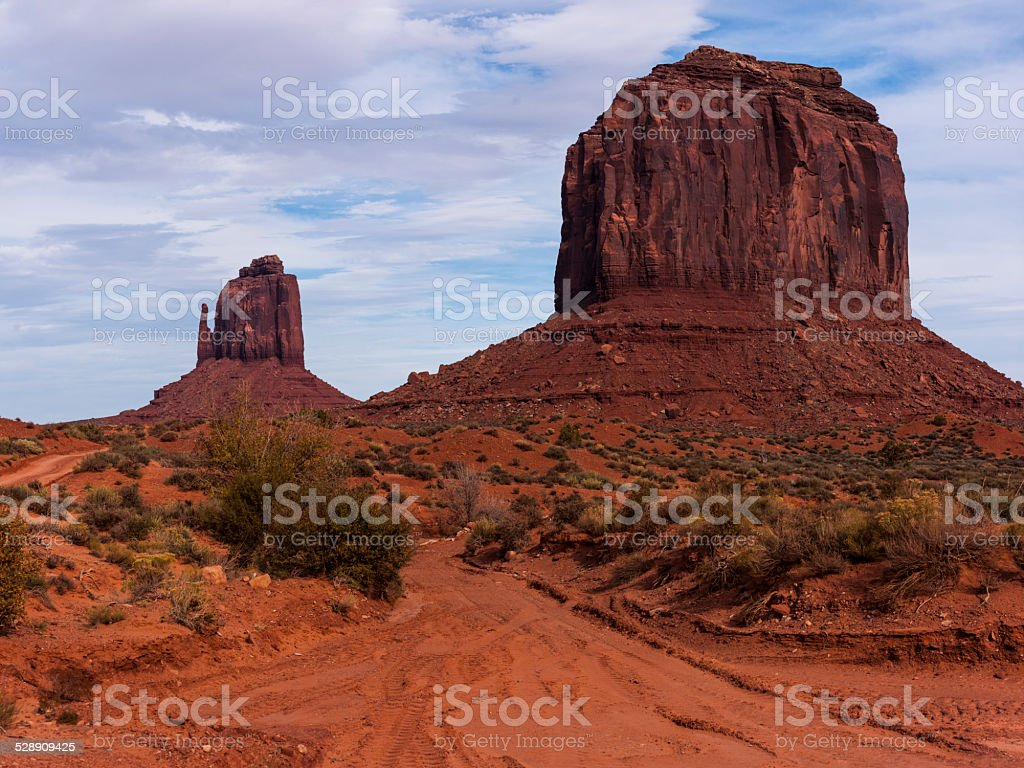 Arizona. Monument Valley. East Mitten Butte and Merrick Butte stock photo