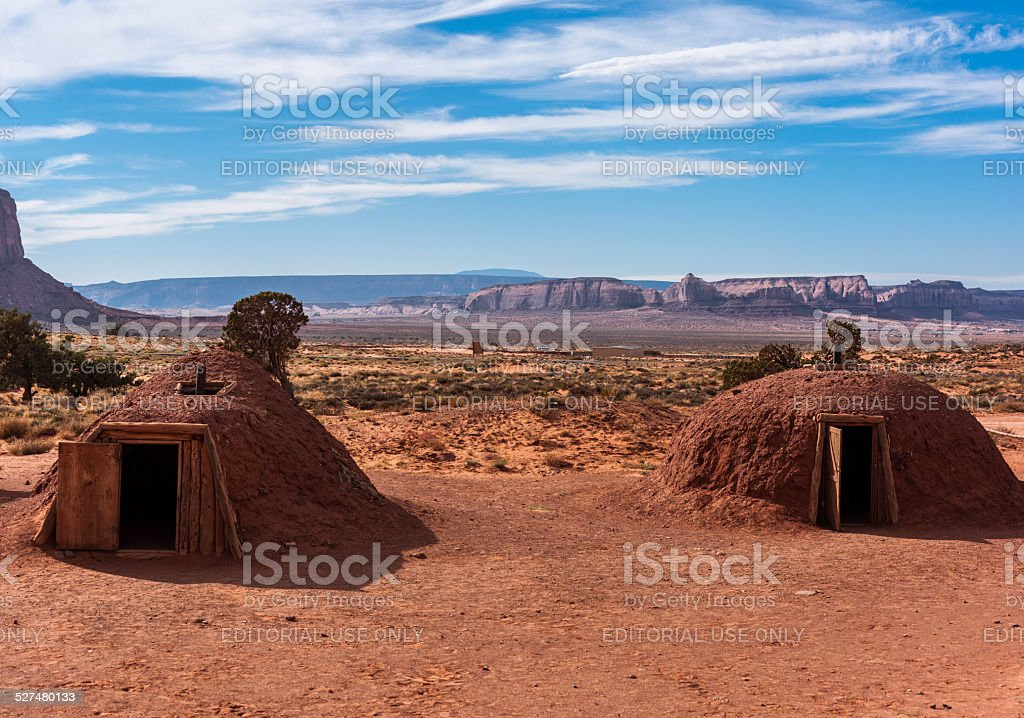 Arizona. Monument Valley. Male and female hogans (Navajo traditional dwellings) stock photo