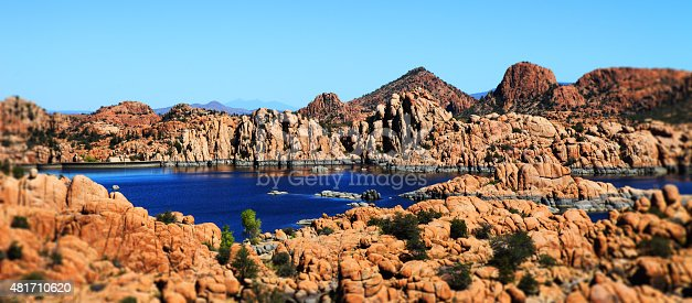 This is a color photo of rock formations at Watson Lake in Prescott Arizona.
