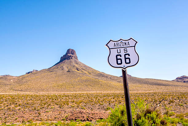 arizona route 66 schild - route 66 stock-fotos und bilder