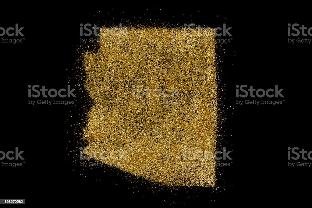Arizona shaped from golden glitter on black (series) stock photo