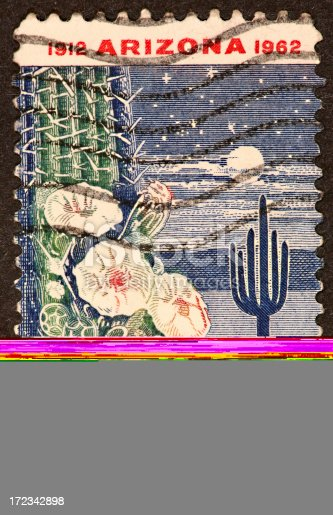 1962 postage stamp comemmorating the state of Arizona.