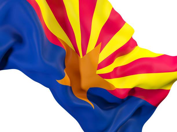 Bandeira do estado de Arizona close-up. Bandeiras de locais dos Estados Unidos - foto de acervo