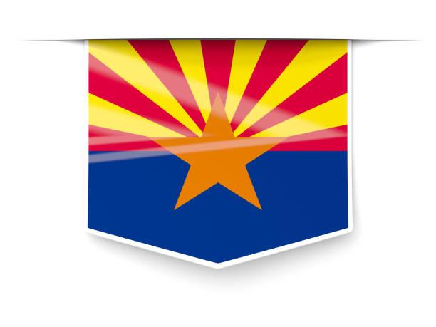 Bandeira do estado de Arizona quadrados rótulo com sombra. Bandeiras de locais dos Estados Unidos - foto de acervo