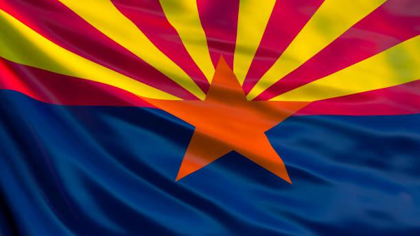 Bandeira do estado do Arizona. Bandeira do estado do Arizona, Estados Unidos da América. - foto de acervo