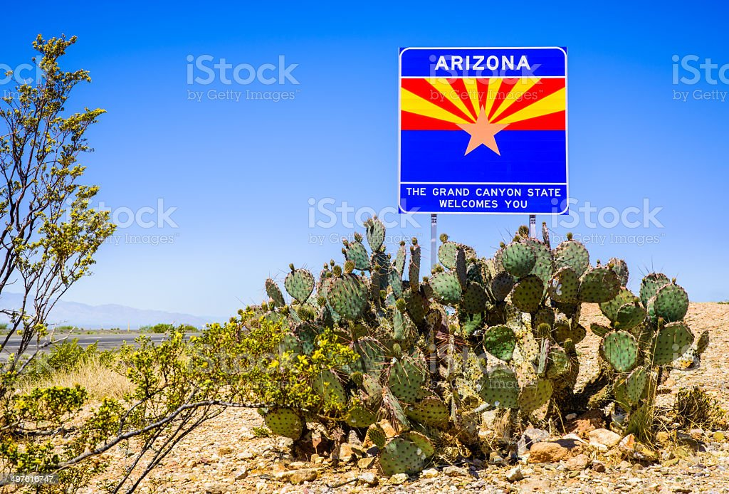 Arizona State highway welcome sign with cactus, mountains, and sky stock photo