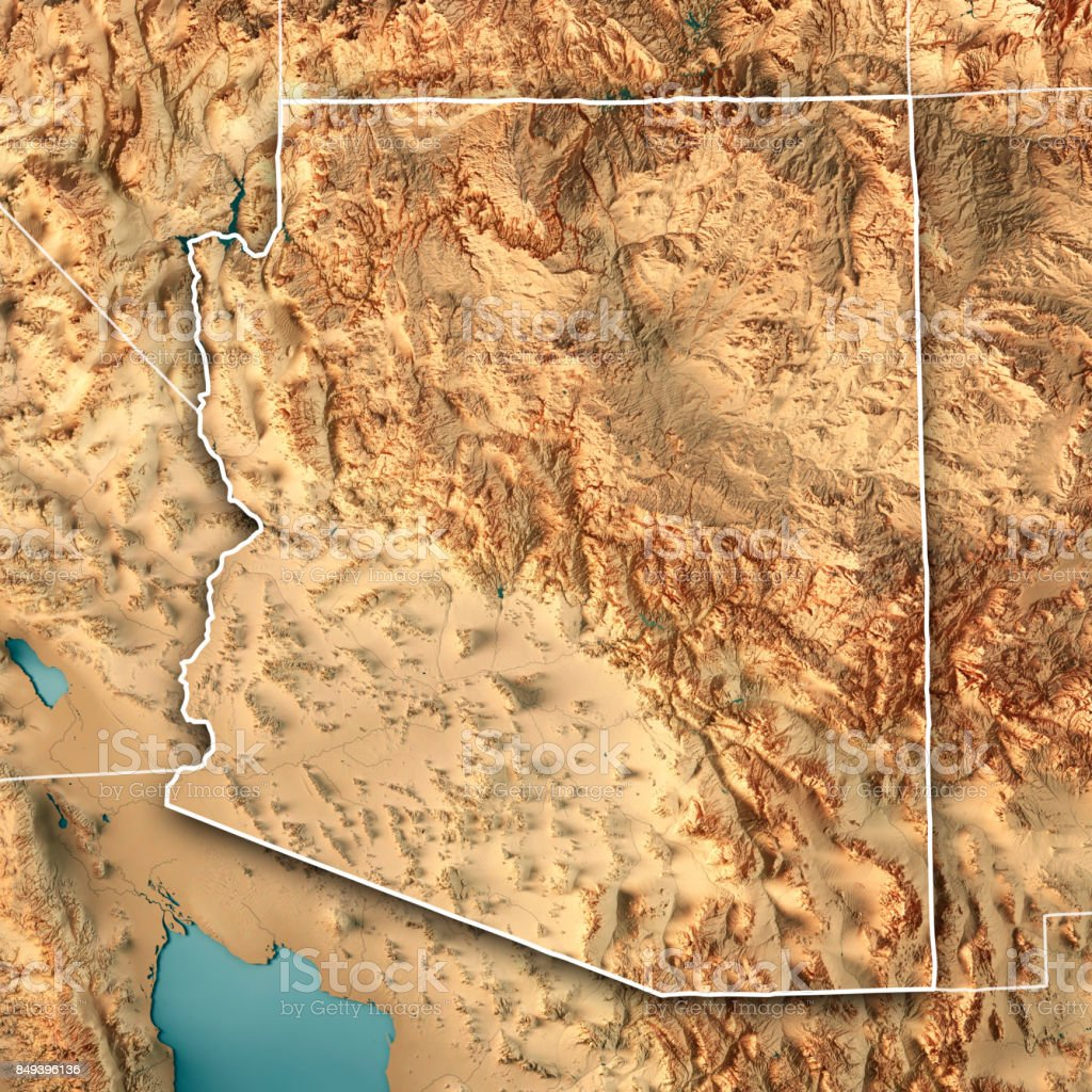 Arizona State USA 3D Render Topographic Map Border stock photo