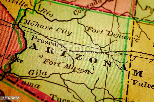 Arizona on a 1880's map. Arizona is a state in the southwestern region of the United States. It is also part of the Western United States and of the Mountain West states. Selective focus and Canon EOS 5D Mark II with MP-E 65mm macro lens.