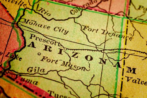 istock Arizona State, USA on an Antique map 472076438