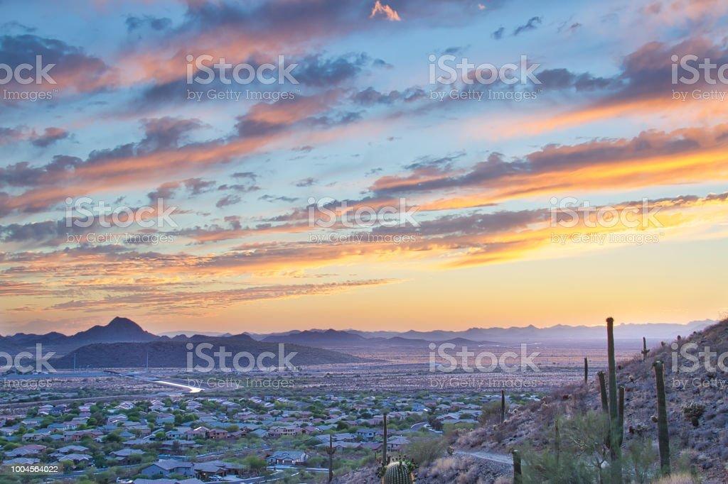 Arizona Sunset and Hiking Trail stock photo