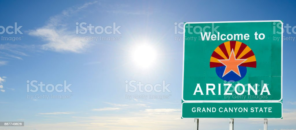 Arizona, Welcome road sign stock photo