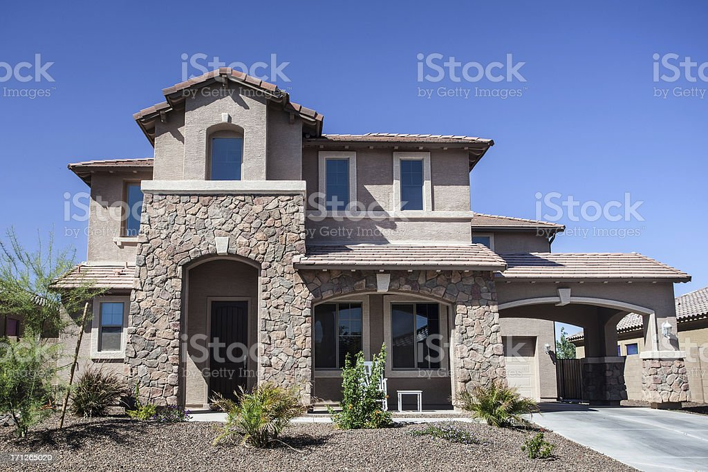Arizona-style house design common to the region royalty-free stock photo