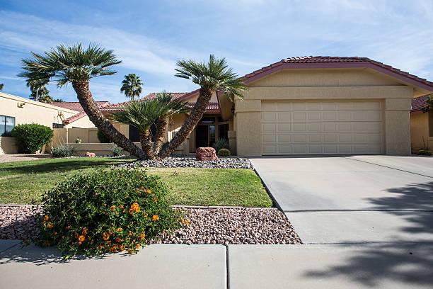 Arizona-style house design common to the region stock photo