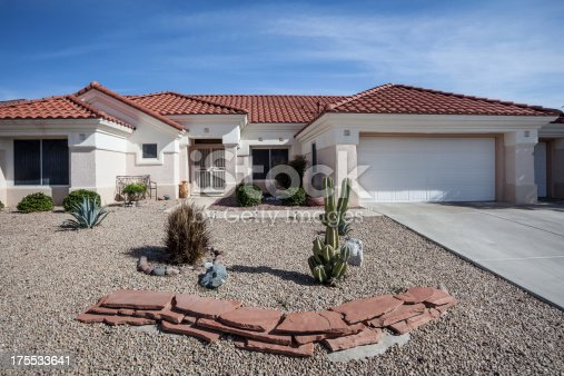 istock Arizona-style house design common to the region 175533641