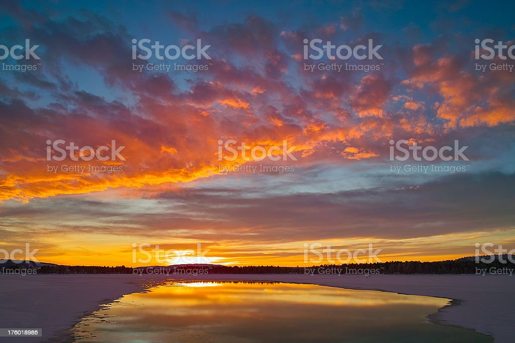 Arjeplog Lake at Sunset royalty-free stock photo