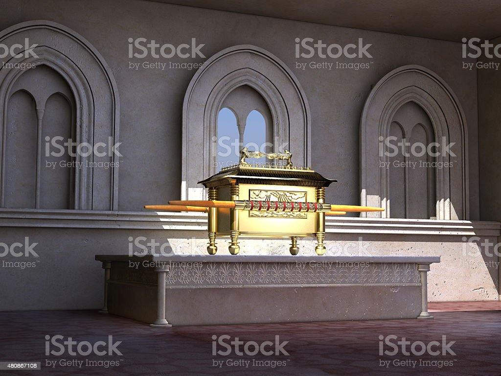 Ark of the Covenant on an altar stock photo