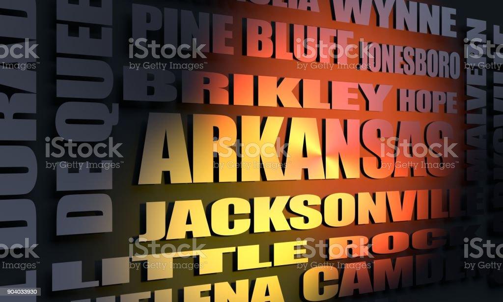 Arkansas cities list stock photo