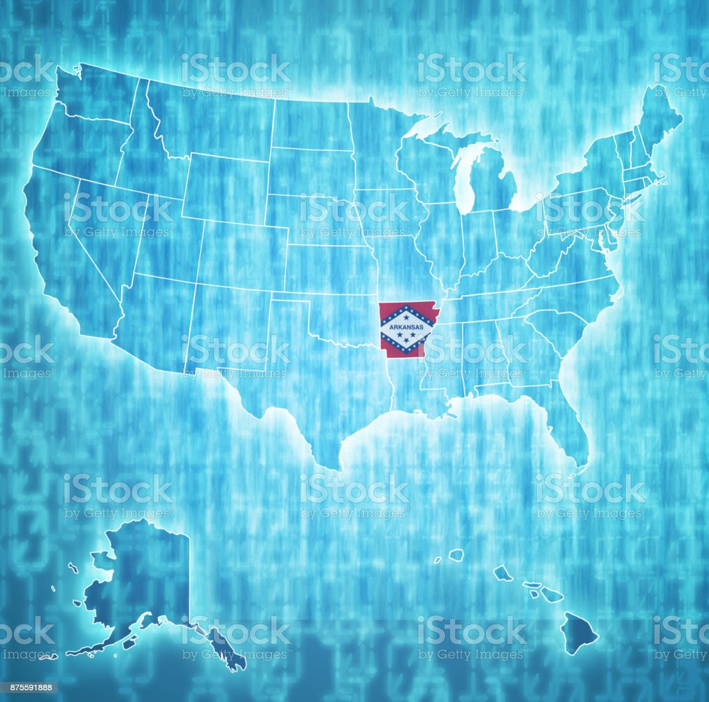 arkansas flag on administration map of united states stock photo