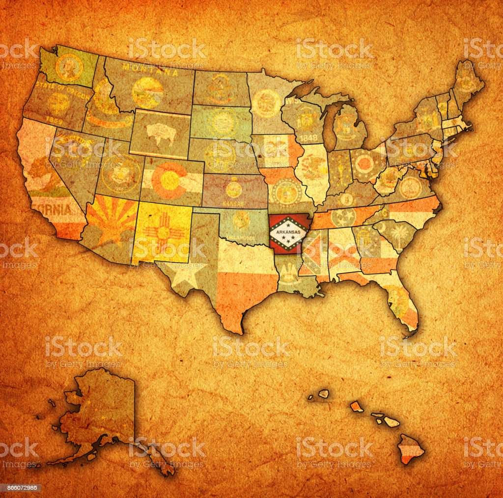 arkansas on old vintage map of usa stock photo