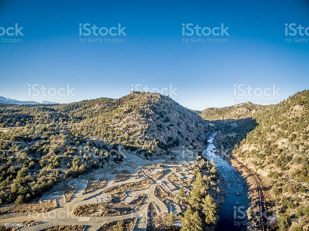 Arkansas River aerial view stock photo